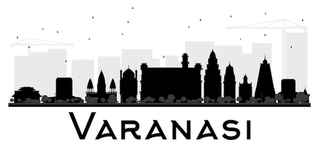 Silhueta preto e branco do horizonte da cidade de varanasi. ilustração vetorial. conceito plano simples para apresentação de turismo, banner, cartaz ou site da web. paisagem urbana com monumentos.