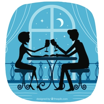 Silhueta romântica do casal