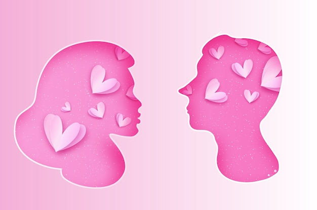 Silhueta rosa masculina e feminina