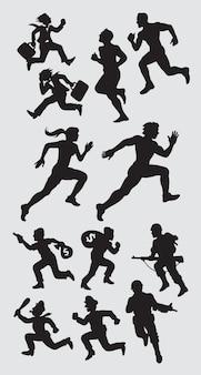 Silhueta running masculina e fêmea