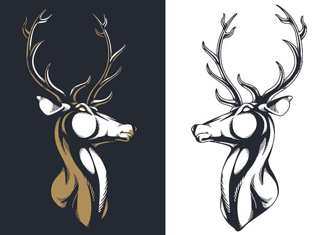 Silhueta veado cervo veado alce cabeça chifres retrato majestoso
