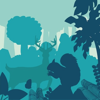 Silhueta veado esquilo floresta arbustos árvores