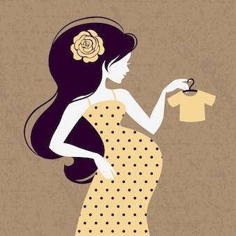 Silhueta vintage de mulher grávida com jaqueta solta de bebê
