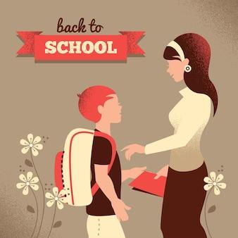 Silhueta vintage de professor e aluno. ilustração de volta às aulas