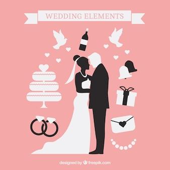 Silhuetas bonitas do casamento