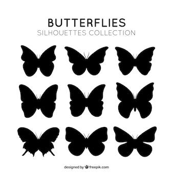 Silhuetas borboletas embalar
