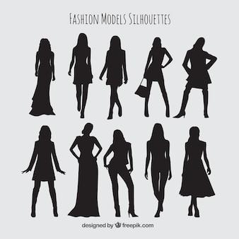 Silhuetas coleção de modelos com roupas elegantes
