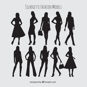Silhuetas coleção modelos de moda