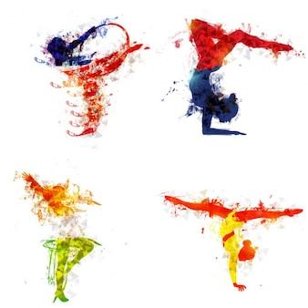 Silhuetas coloridas de ginastas
