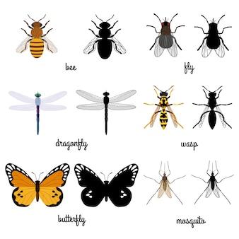 Silhuetas coloridas e pretas, insetos voadores isolados no branco