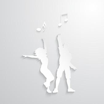 Silhuetas da dança com as notas musicais