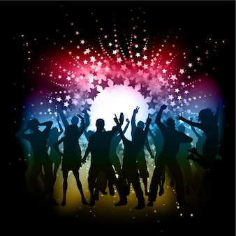 Silhuetas da dança na disco background