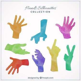 Silhuetas da mão coloridos
