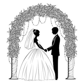 Silhuetas da noiva e do noivo em vestidos clássicos