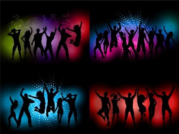 Silhuetas dança no partido fundos