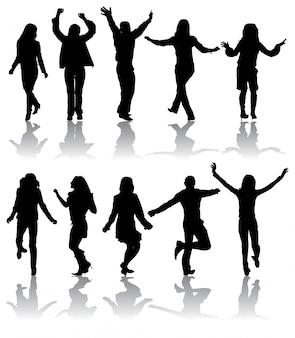 Silhuetas dançando homens e mulheres