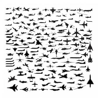 Silhuetas de aeronaves