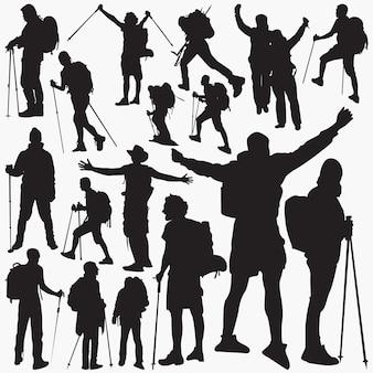 Silhuetas de alpinista