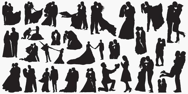 Silhuetas de amor de casamento