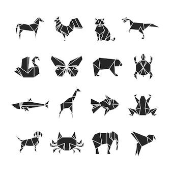 Silhuetas de animais abstratos com detalhes de linha. ícones de animais isolados no branco