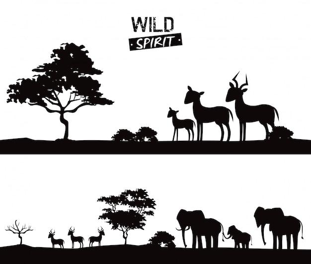 Silhuetas de animais africanos