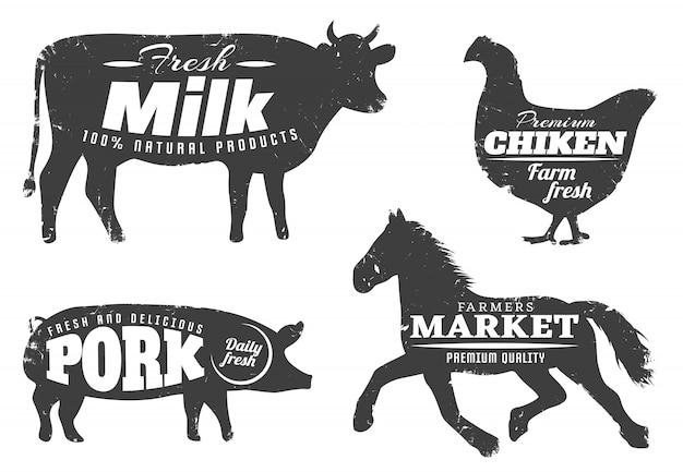 Silhuetas de animais com citações de fazenda