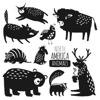 Silhuetas de animais da floresta americana