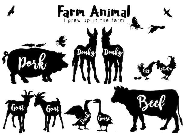 Silhuetas de animais de fazenda isoladas