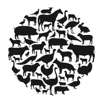 Silhuetas de animais de fazenda vetoriais isoladas em branco