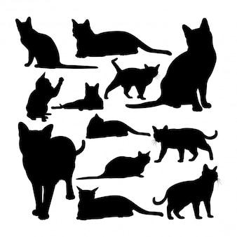 Silhuetas de animais de gato korat