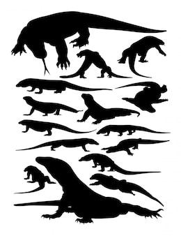 Silhuetas de animais de komodo.