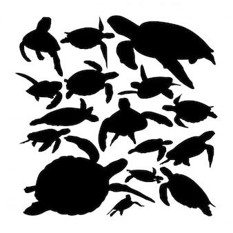 Silhuetas de animais de tartaruga verde