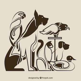 Silhuetas de animais domésticos