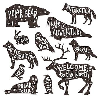 Silhuetas de animais polares
