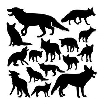 Silhuetas de animais raposa vermelha.