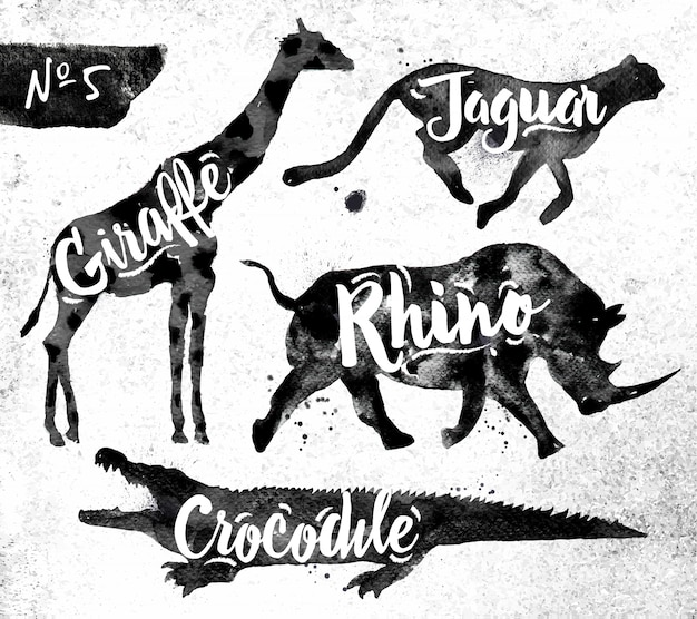 Silhuetas, de, animal, girafa, rinoceronte, crocodilo, chita