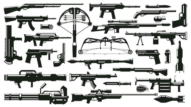 Silhuetas de armas de guerra conjunto de armas automáticas, lançador de granadas, balas, suprimentos de armas de fogo