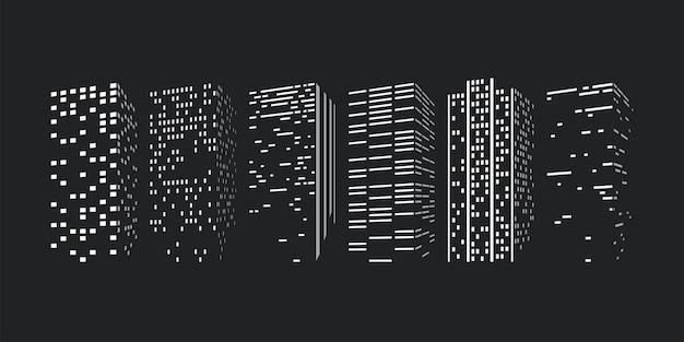 Silhuetas de arranha-céus da cidade em conjunto no escuro