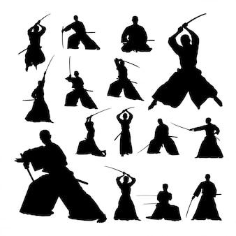 Silhuetas de arte marcial de samurai