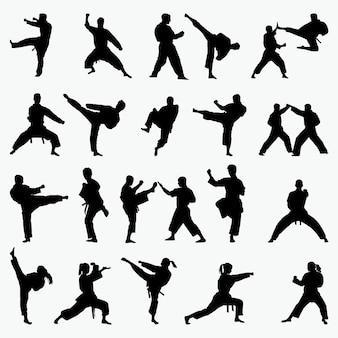 Silhuetas de artes marciais
