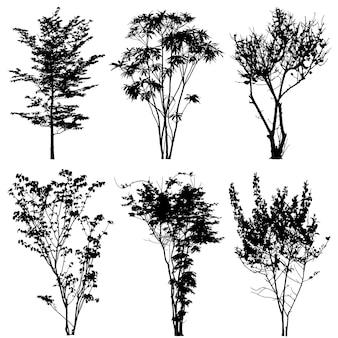 Silhuetas de árvores. preto sobre fundo branco, ilustração