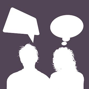 Silhuetas de avatares masculinos e femininos com balões de fala