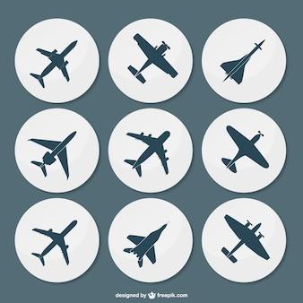 Silhuetas de avião embalar