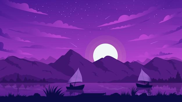Silhuetas de barco de pesca noturno em paisagem montanhosa flutuando na água ao luar