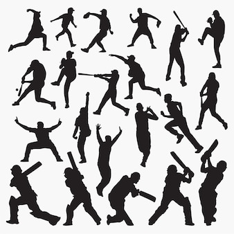 Silhuetas de beisebol de críquete