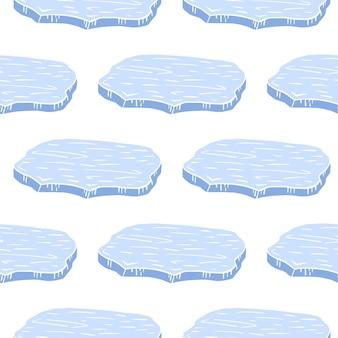 Silhuetas de bloco de gelo azul da antártica dos desenhos animados isolados.