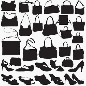 Silhuetas de bolsa de sandália de mulher
