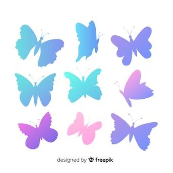 Silhuetas de borboleta gradiente voando conjunto