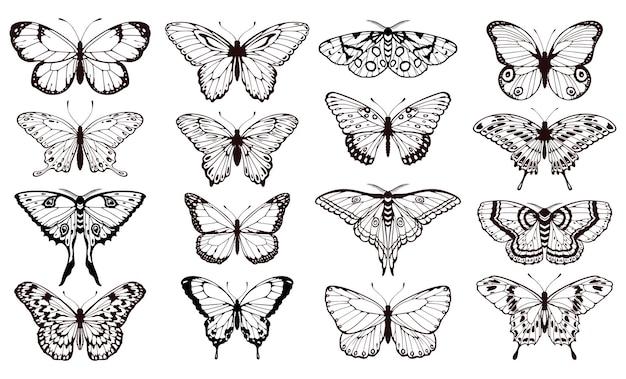 Silhuetas de borboletas. conjunto de vetores gráficos de tatuagem de borboletas de contorno preto para design de cartão de casamento