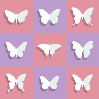 Silhuetas de borboletas para decoração. ilustração vetorial